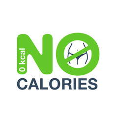 No calories stamp with crossed out fat body inside vector