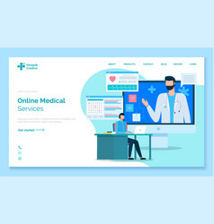 online medical service landing web page template vector image