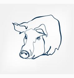 pig animal wild one line design vector image