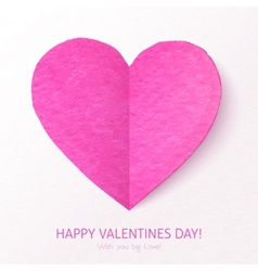 Pink textured folded heart vector image