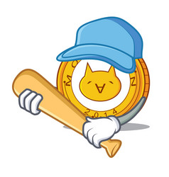 Playing baseball monacoin character cartoon style vector