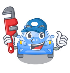 Plumber car police isolated with in mascot vector