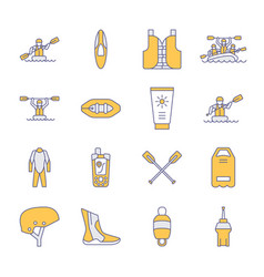 Rafting kayaking flat line icons vector