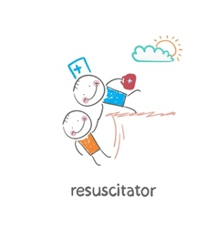 resuscitator holding the hand of a patient from vector image