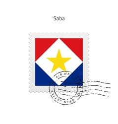 Saba Flag Postage Stamp vector