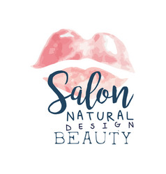 salon natural beauty logo design label for hair vector image