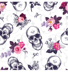 Seamless pattern with human skulls and half vector