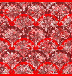 Seamless pattern with red circle kaleidoscope vector