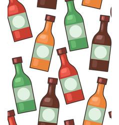 seamless texture glass bottles various hot vector image
