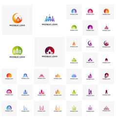 Set islamic logo design mosque logo template vector