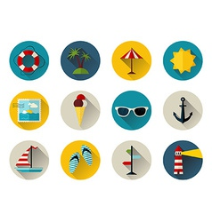 Set of 12 round icons with long flat shadow vector