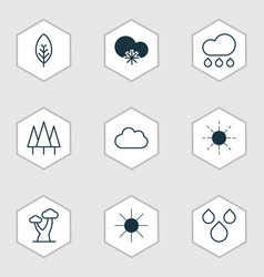 set of 9 harmony icons includes sunshine cold vector image