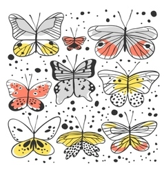 Set of butterfly Hand drawn vector