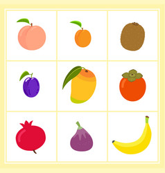 set of cartoon fruits vector image