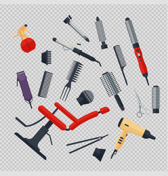 Set of hairdresser objects in flat style on vector