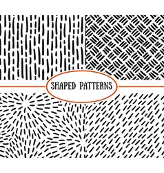 Set of seamless stroke patterns Black and white vector image