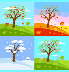 set seasons summer vector image