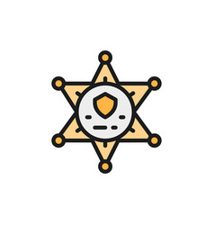 Sheriff star badge police flat color line vector