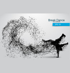 silhouette of a break dancer from particles vector image