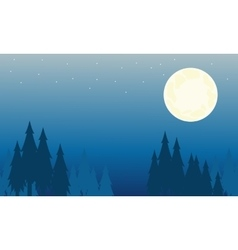 Silhouette of spruce and big moon landscape vector