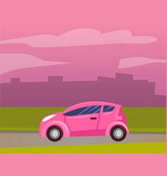 smart car vehicle transport riding city cityscape vector image