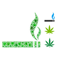 smoking cigarette composition of hemp leaves vector image