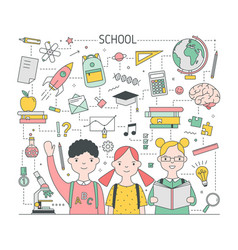 square back to school banner template with vector image