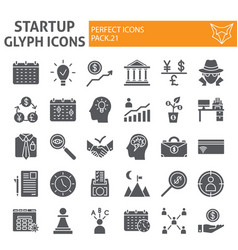 startup glyph icon set finance symbols collection vector image