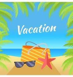 Summer Vacation on Tropical Beach vector
