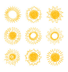 Sun icons collection sunshine symbols hand drawn vector