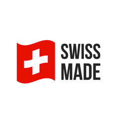 swiss made switzerland flag seal icon vector image