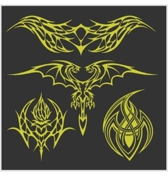 Tattoo set in tribal style on dark background vector image