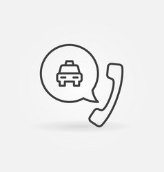 taxi phone call concept outline icon or vector image