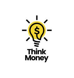 think money bulb lamp dollar smart idea logo icon vector image