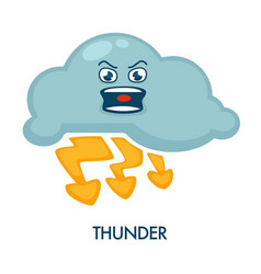 Thunder symbol with angry cloud and shiny vector