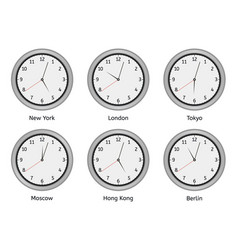 time zone clocks modern wall round clock face vector image