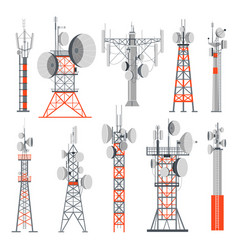 towers and stations supplying electricity set of vector image