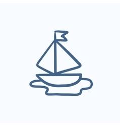 Toy model of ship sketch icon vector image