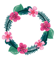 tropical wreath flowers leaves frame decoration vector image