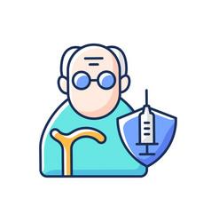 Vaccination elderly people rgb color icon vector