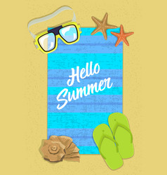 vertical postcard hello summer on beach with vector image