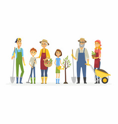 Voluntary saturday work - cartoon people vector
