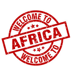 Welcome to africa red stamp vector