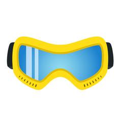 yellow ski glasses in flat style modern trendy vector image