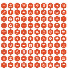 100 arrow icons hexagon orange vector image vector image