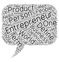 define entrepreneur text background wordcloud vector image vector image