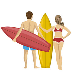 young couple standing with their surfboards vector image
