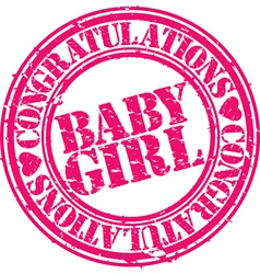 baby girl stamp vector image