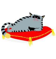 cute smiling cat lying on the red pillow lazy vector image