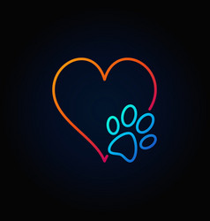 dog paw with heart outline icon vector image